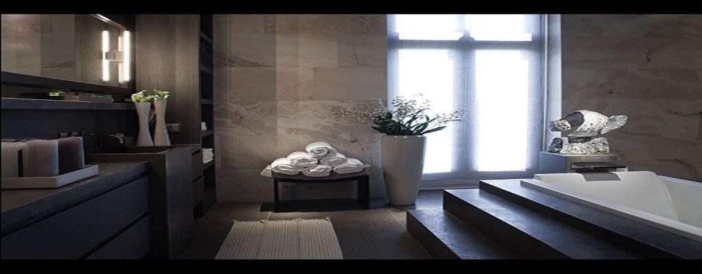 Badkamer vrijstaand in natuursteen