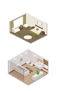 Comfortabel wonen slaapkamer en badkamer.